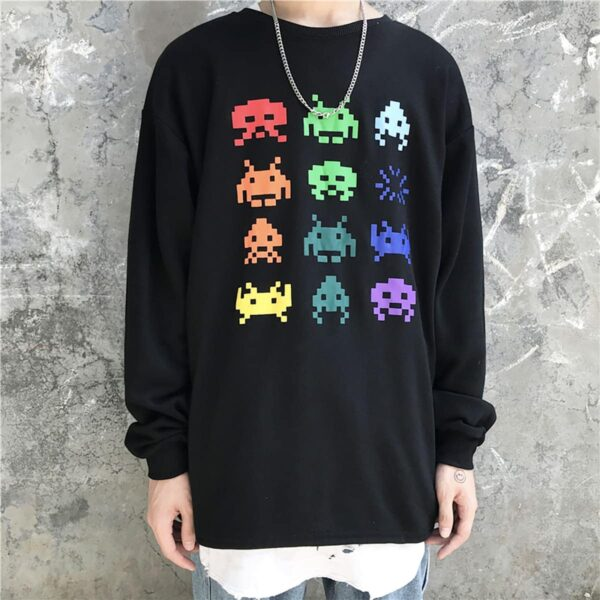 Space Invaders Retro Game Sweatshirt 1- Orezoria Aesthetic Outfits Shop - Aesthetic Clothing - eGirl Outfits - Soft Girl Outfits
