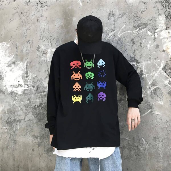 Space Invaders Retro Game Sweatshirt 2- Orezoria Aesthetic Outfits Shop - Aesthetic Clothing - eGirl Outfits - Soft Girl Outfits