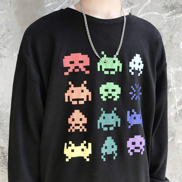Space Invaders Retro Game Sweatshirt 3- Orezoria Aesthetic Outfits Shop - Aesthetic Clothing - eGirl Outfits - Soft Girl Outfits