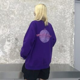 Spacecraft Moon Core Print Sweatshirt 2 - Orezoria Aesthetic Outfits Shop - Aesthetic Clothing - eGirl Outfits - Soft Girl Outfits