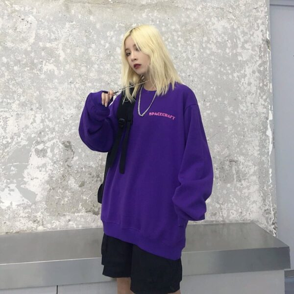 Spacecraft Moon Core Print Sweatshirt 3 - Orezoria Aesthetic Outfits Shop - Aesthetic Clothing - eGirl Outfits - Soft Girl Outfits