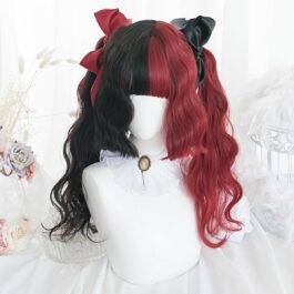 Split Color Black and Red Long Wavy Wig 1- Orezoria Aesthetic Outfits Shop - Aesthetic Clothing - eGirl Outfits - Soft Girl Outfits (1)