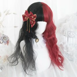 Split Color Black and Red Long Wavy Wig 1- Orezoria Aesthetic Outfits Shop - Aesthetic Clothing - eGirl Outfits - Soft Girl Outfits (2)