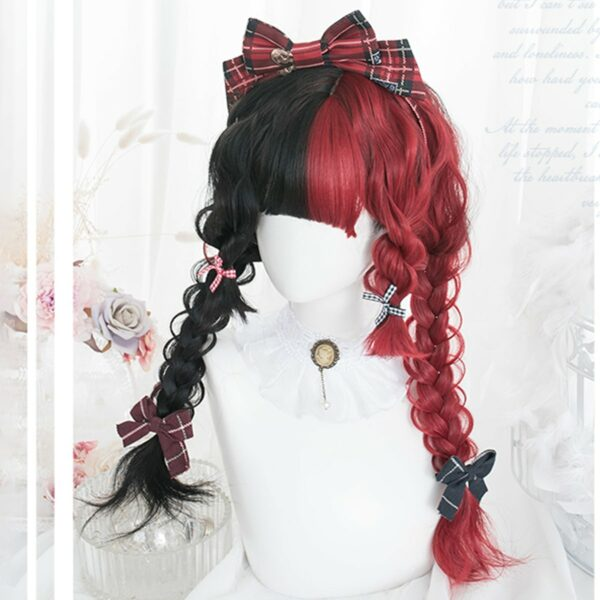 Split Color Black and Red Long Wavy Wig 1- Orezoria Aesthetic Outfits Shop - Aesthetic Clothing - eGirl Outfits - Soft Girl Outfits (3)