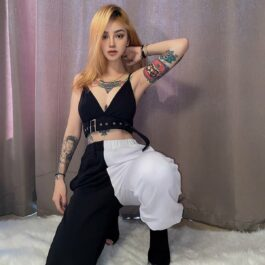 Split Color Black and White Pants 2- Orezoria Aesthetic Outfits Shop - Aesthetic Clothing - eGirl Outfits - Soft Girl Outfits