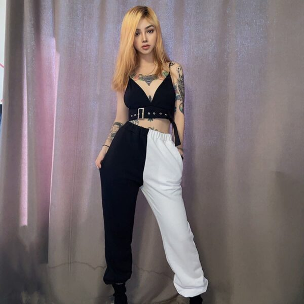 Split Color Black and White Pants 3- Orezoria Aesthetic Outfits Shop - Aesthetic Clothing - eGirl Outfits - Soft Girl Outfits