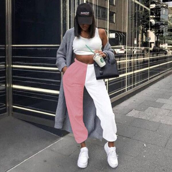 Split Color Black and White Pants 6 - Orezoria Aesthetic Outfits Shop - Aesthetic Clothing - eGirl Outfits - Soft Girl Outfits