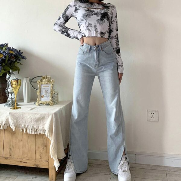Split Flared Light Blue Washed Jeans 1 - Orezoria Aesthetic Outfits Shop - Aesthetic Clothing - eGirl Outfits - Soft Girl Outfits