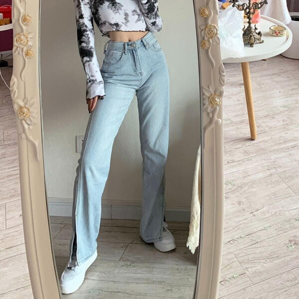 Split Flared Light Blue Washed Jeans 2 - Orezoria Aesthetic Outfits Shop - Aesthetic Clothing - eGirl Outfits - Soft Girl Outfits