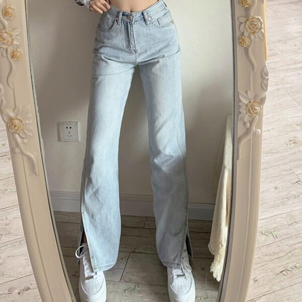 Split Flared Light Blue Washed Jeans 3 - Orezoria Aesthetic Outfits Shop - Aesthetic Clothing - eGirl Outfits - Soft Girl Outfits