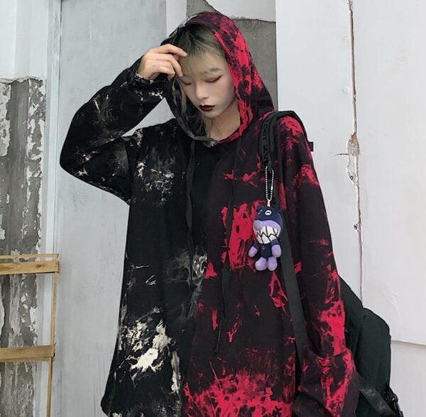 Split White and Red Tie Dye Loose Hoodie 1 - Orezoria Aesthetic Outfits Shop - Aesthetic Clothing - eGirl Outfits - Soft Girl Outfits.psd