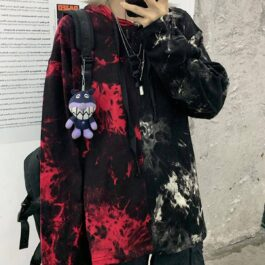 Split White and Red Tie Dye Loose Hoodie 2 - Orezoria Aesthetic Outfits Shop - Aesthetic Clothing - eGirl Outfits - Soft Girl Outfits.psd