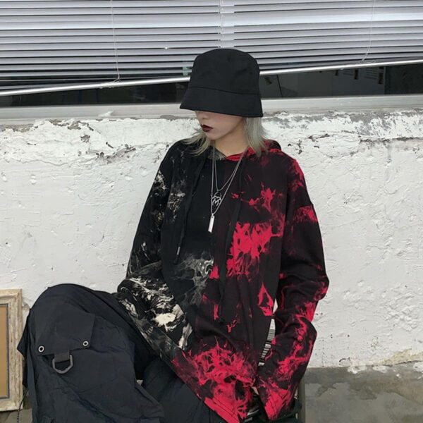 Split White and Red Tie Dye Loose Hoodie 3 - Orezoria Aesthetic Outfits Shop - Aesthetic Clothing - eGirl Outfits - Soft Girl Outfits.psd