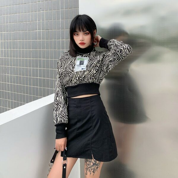 Sprawling Psychedelic Zebra Top 2- Orezoria Aesthetic Outfits Shop - Aesthetic Clothing - eGirl Outfits - Soft Girl Outfits