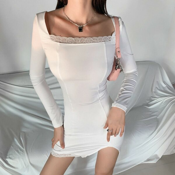 Square Collar Thinner Slit Short Dress 3- Orezoria Aesthetic Outfits Shop - Aesthetic Clothing - eGirl Outfits - Soft Girl Outfits