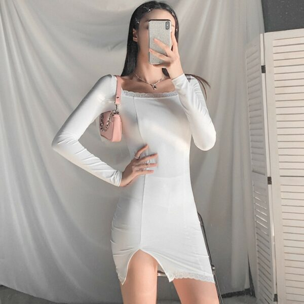 Square Collar Thinner Slit Short Dress 4- Orezoria Aesthetic Outfits Shop - Aesthetic Clothing - eGirl Outfits - Soft Girl Outfits