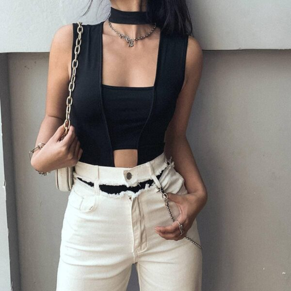 Square Neck Black Sexy Bodysuit.1- Orezoria Aesthetic Outfits Shop - Aesthetic Clothing - eGirl Outfits - Soft Girl Outfits