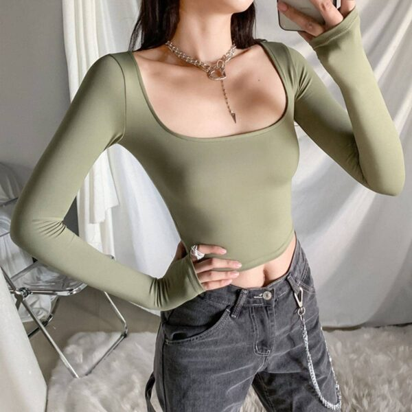 Square Neck Cropped Long Sleeve 2- Orezoria Aesthetic Outfits Shop - Aesthetic Clothing - eGirl Outfits - Soft Girl Outfits