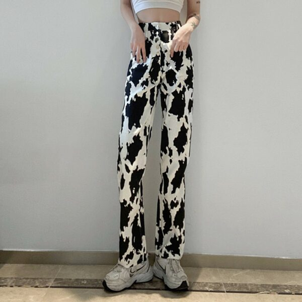 Stainy Cow Pattern High Waist Jeans 2- Orezoria Aesthetic Outfits Shop - Aesthetic Clothing - eGirl Outfits - Soft Girl Outfits