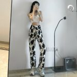 Stainy Cow Pattern High Waist Jeans 3- Orezoria Aesthetic Outfits Shop - Aesthetic Clothing - eGirl Outfits - Soft Girl Outfits