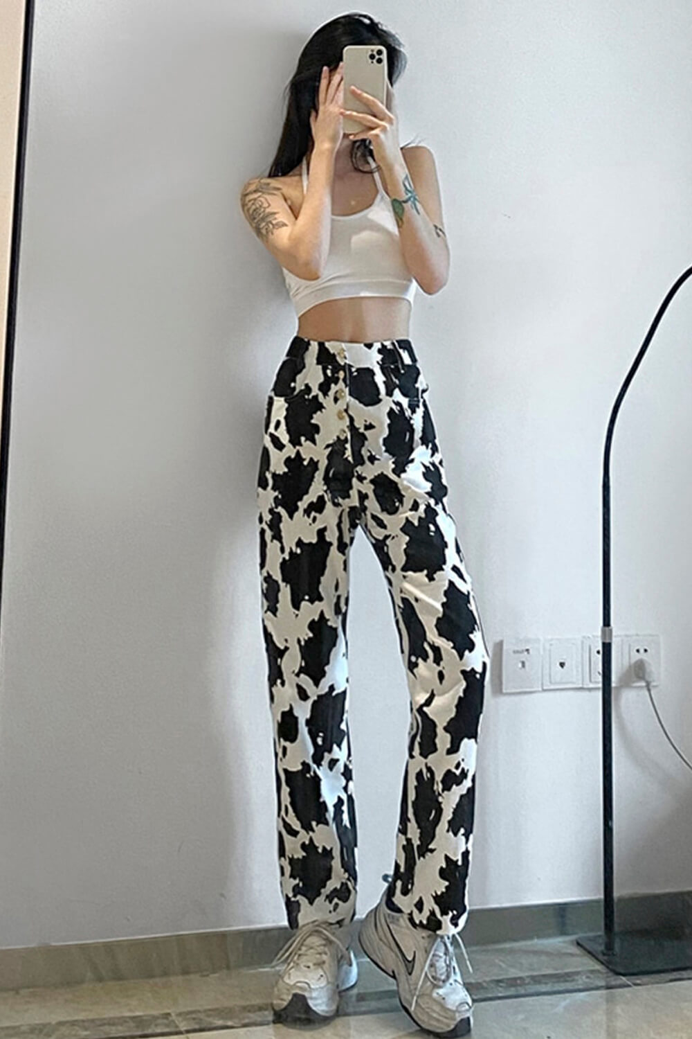 Stainy Cow Pattern High Waist Jeans