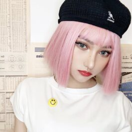 Straight Bob Colored Hair EGirl Wig 1- Orezoria Aesthetic Outfits Shop - Aesthetic Clothing - eGirl Outfits - Soft Girl Outfits (1)