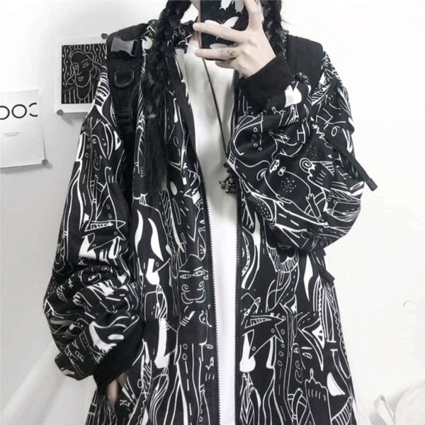 Strange Creatures Front Zip Tag Hoodie 2- Orezoria Aesthetic Outfits Shop - Aesthetic Clothing - eGirl Outfits - Soft Girl Outfits