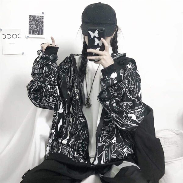 Strange Creatures Front Zip Tag Hoodie 4- Orezoria Aesthetic Outfits Shop - Aesthetic Clothing - eGirl Outfits - Soft Girl Outfits