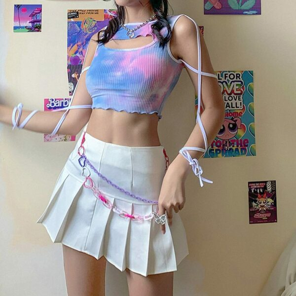 Strapped Sleeve Soft Core Tie Dye Top 1 - Orezoria Aesthetic Outfits Shop - Aesthetic Clothing - eGirl Outfits - Soft Girl Outfits