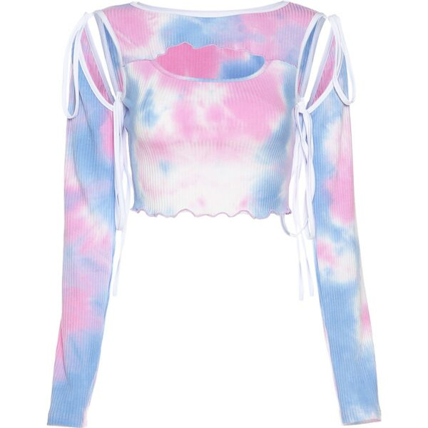 Strapped Sleeve Soft Core Tie Dye Top 4 - Orezoria Aesthetic Outfits Shop - Aesthetic Clothing - eGirl Outfits - Soft Girl Outfits