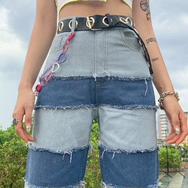 Striped Contrast Stitched Denim Jeans 1- Orezoria Aesthetic Outfits Shop - Aesthetic Clothing - eGirl Outfits - Soft Girl Outfits