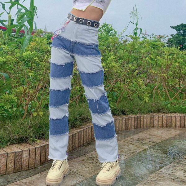 Striped Contrast Stitched Denim Jeans 2- Orezoria Aesthetic Outfits Shop - Aesthetic Clothing - eGirl Outfits - Soft Girl Outfits