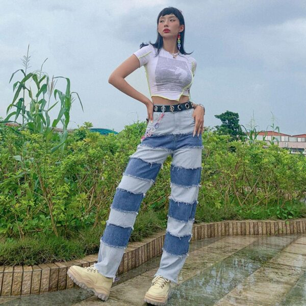 Striped Contrast Stitched Denim Jeans 3- Orezoria Aesthetic Outfits Shop - Aesthetic Clothing - eGirl Outfits - Soft Girl Outfits