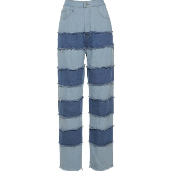 Striped Contrast Stitched Denim Jeans 4- Orezoria Aesthetic Outfits Shop - Aesthetic Clothing - eGirl Outfits - Soft Girl Outfits