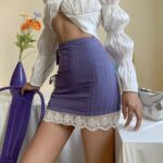 Striped Purple Edge Laced Retro Skirt - Orezoria Aesthetic Outfits Shop - Aesthetic Clothing - eGirl Outfits - Soft Girl