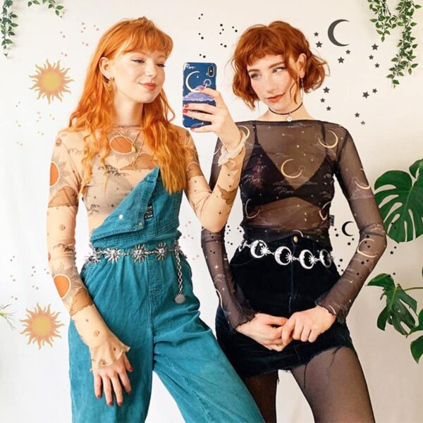 Sun and Moon Mesh Long Sleeve Crop Top (1)- Orezoria Aesthetic Outfits Shop - Aesthetic Clothing - eGirl Outfits - Soft Girl Outfits