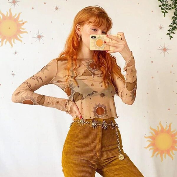 Sun and Moon Mesh Long Sleeve Crop Top (4)- Orezoria Aesthetic Outfits Shop - Aesthetic Clothing - eGirl Outfits - Soft Girl Outfits
