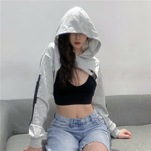 Super Short Open Chest Gray Hoodie - Orezoria Aesthetic Outfits Shop - Aesthetic Clothing - eGirl Outfits - Soft Girl