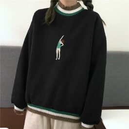 Swimmer Girl Embroidery Sweatshirt 1 - Orezoria Aesthetic Outfits Shop - Aesthetic Clothing - eGirl Outfits - Soft Girl Outfits.psd