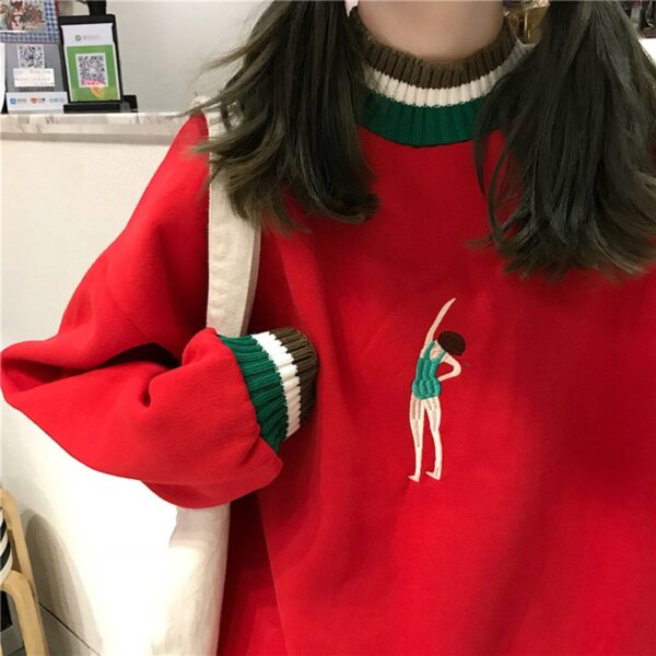 Swimmer Girl Embroidery Sweatshirt 2 - Orezoria Aesthetic Outfits Shop - Aesthetic Clothing - eGirl Outfits - Soft Girl Outfits.psd