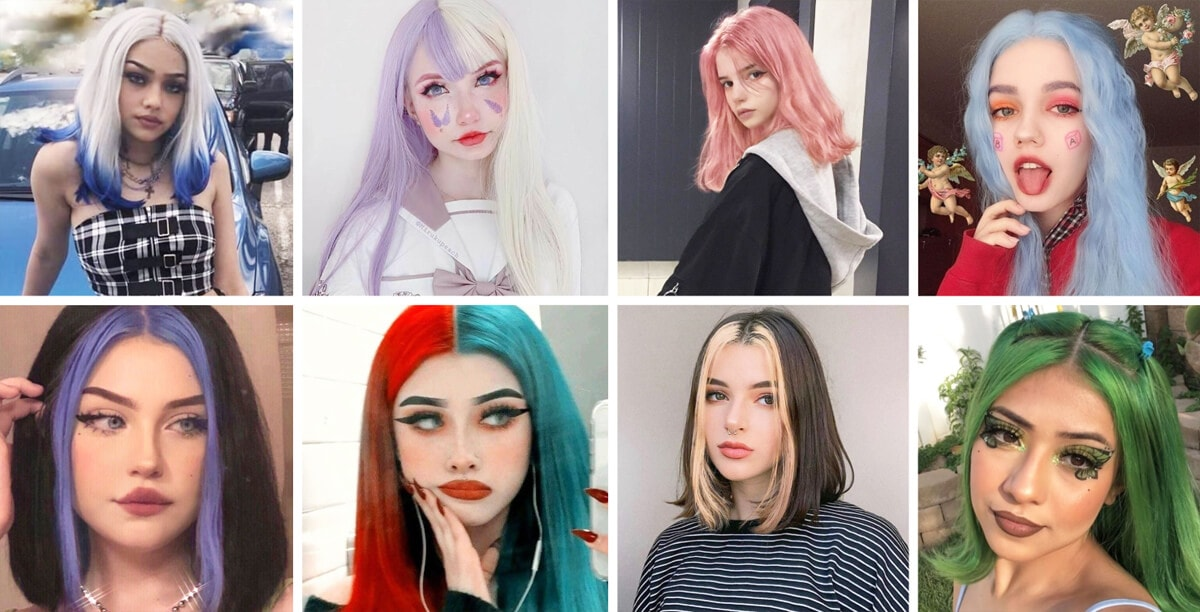The Middle Part Aesthetic Haircuts EGirl Hairstyles Guide Hair Coloring and EGirl Wigs Orezoria Blog