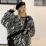 Thick Fluff Zebra Pattern Sweatshirt 1 - Orezoria Aesthetic Outfits Shop - Aesthetic Clothing - eGirl Outfits - Soft Girl Outfits.psd