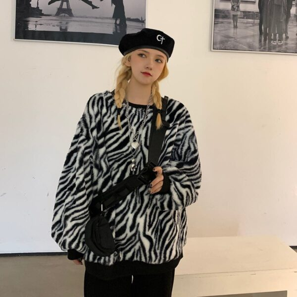 Thick Fluff Zebra Pattern Sweatshirt 2 - Orezoria Aesthetic Outfits Shop - Aesthetic Clothing - eGirl Outfits - Soft Girl Outfits.psd
