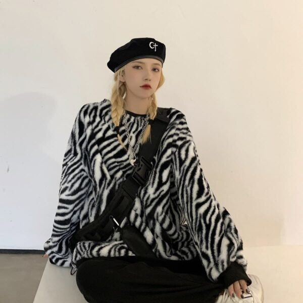 Thick Fluff Zebra Pattern Sweatshirt 3 - Orezoria Aesthetic Outfits Shop - Aesthetic Clothing - eGirl Outfits - Soft Girl Outfits.psd