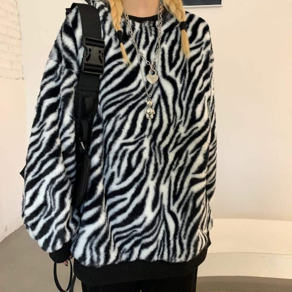 Thick Fluff Zebra Pattern Sweatshirt 4 - Orezoria Aesthetic Outfits Shop - Aesthetic Clothing - eGirl Outfits - Soft Girl Outfits.psd