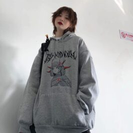 Thorns Horned Anime Girl Loose Hoodie - Orezoria Aesthetic Outfits Shop - Aesthetic Clothing - eGirl Outfits - Soft Girl Outfits.psd