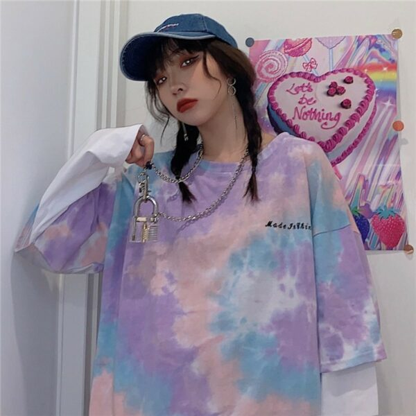 Tie Dye Core Fake Long Sleeve T-Shirt 1 - Orezoria Aesthetic Outfits Shop - Aesthetic Clothing - eGirl Outfits - Soft Girl Outfits.psd