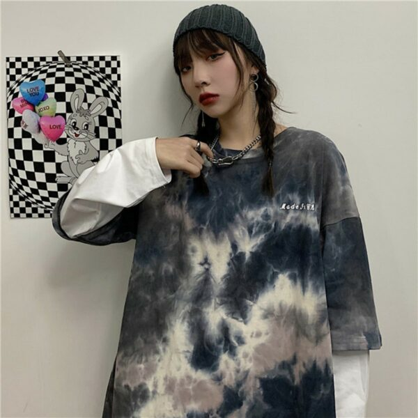 Tie Dye Core Fake Long Sleeve T-Shirt 3 - Orezoria Aesthetic Outfits Shop - Aesthetic Clothing - eGirl Outfits - Soft Girl Outfits.psd