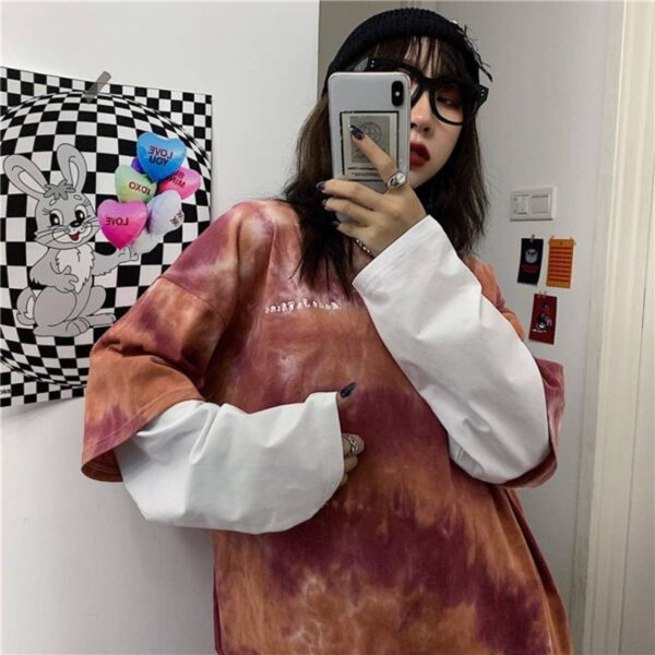 Tie Dye Core Fake Long Sleeve T-Shirt 4 - Orezoria Aesthetic Outfits Shop - Aesthetic Clothing - eGirl Outfits - Soft Girl Outfits.psd