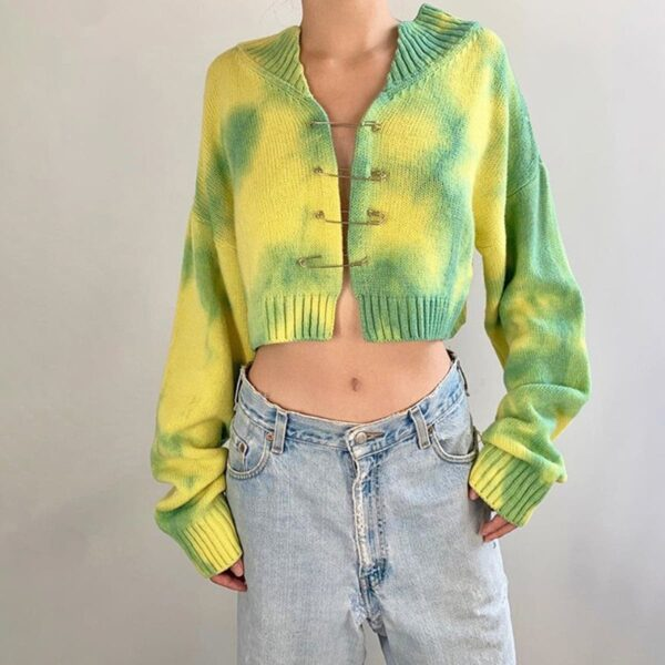Tie Dye Grunge Pins Loose Crop Cardigan 1 - Orezoria Aesthetic Outfits Shop - Aesthetic Clothing - eGirl Outfits - Soft Girl Outfits